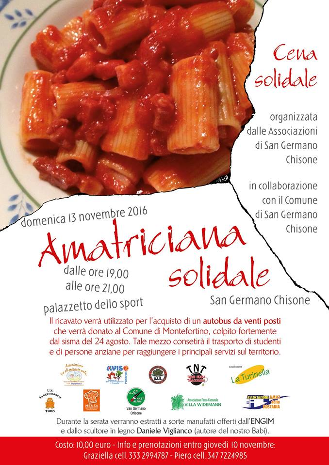 Amatriciana solidale 2016 nov. 13 ore 19/21